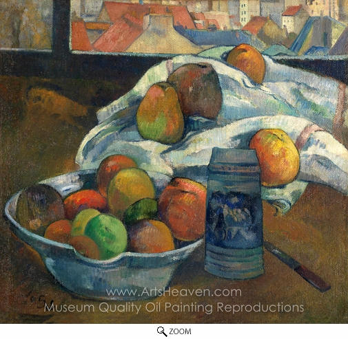 Paul Gauguin, Bowl of Fruit and Tankard Before a Window oil painting reproduction