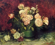 Bowl with Peonies and Roses painting reproduction, Vincent Van Gogh