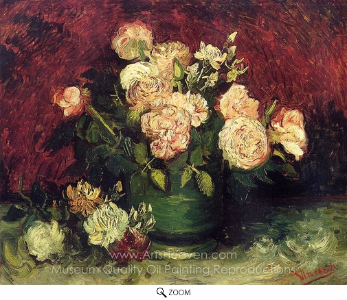 Vincent Van Gogh, Bowl with Peonies and Roses oil painting reproduction