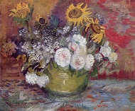 Bowl with Sunflowers, Roses and Other Flowers painting reproduction, Vincent Van Gogh
