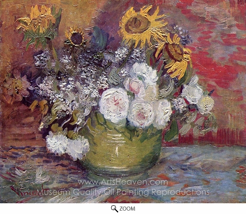 Vincent Van Gogh, Bowl with Sunflowers, Roses and Other Flowers oil painting reproduction