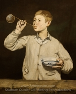 Boy Blowing Bubbles painting reproduction, �douard Manet