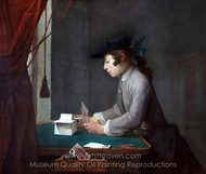 Boy Building a House of Cards painting reproduction, Jean Simeon Chardin