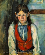 Boy in a Red Vest painting reproduction, Paul C�zanne