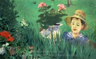 Boy in Flowers painting reproduction, �douard Manet