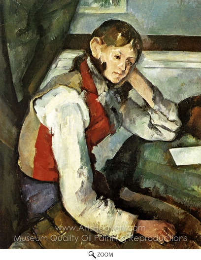 Paul Cézanne, Boy in Red Vest oil painting reproduction