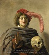 Boy with a Skull painting reproduction, Frans Hals