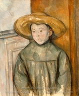 Boy With a Straw Hat painting reproduction, Paul C�zanne