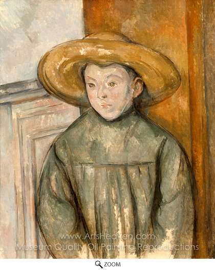 Paul Cézanne, Boy With a Straw Hat oil painting reproduction