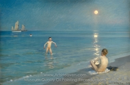 Boys Bathing at Skagen, Summer Evening painting reproduction, Peder Severin Kroyer