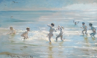 Boys Bathing on a Summer Evening at Skagen Beach painting reproduction, Peder Severin Kroyer