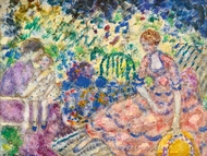 Breakfast in the Garden painting reproduction, Frederick Carl Frieseke