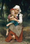 Breton Brother and Sister painting reproduction, William A. Bouguereau