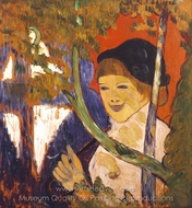 Breton Girl with a Red Umbrella painting reproduction, Emile Bernard