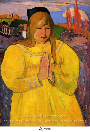 Paul Gauguin, Breton Woman in Prayer oil painting reproduction
