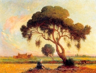 Breton Woman Seated Under a Large Tree painting reproduction, Ferdinand Du Puigaudeau