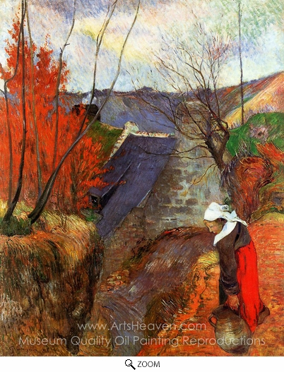 Paul Gauguin, Breton Woman with Pitcher oil painting reproduction
