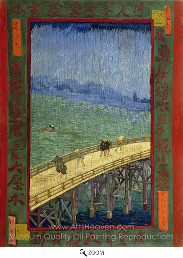 Vincent Van Gogh, Bridge in the Rain (after Hiroshige) oil painting reproduction