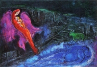 Bridges Over the Seine painting reproduction, Marc Chagall (inspired by)