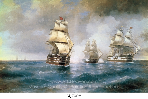 Ivan Aivazovskiy, Brig Mercury Being Attacked by Two Turkish Ships oil painting reproduction