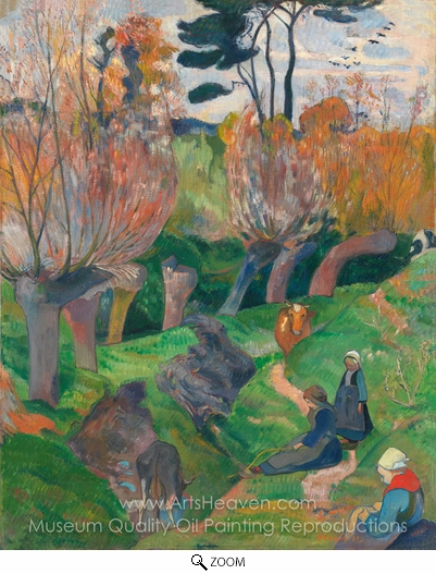 Paul Gauguin, Brittany Landscape with Cows oil painting reproduction