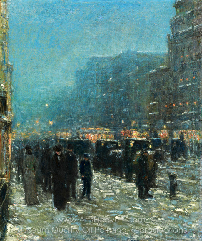 2f45cb4a50e493 Reproduction Painting Childe Hassam Broadway and 42nd Street