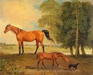 Broodmare with Foal, and a Terrier painting reproduction, Benjamin Marshall