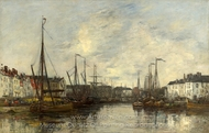 Brussels Harbour painting reproduction, Eugene-Louis Boudin