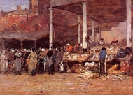 Brussels, the Old Fish Market painting reproduction, Eugene-Louis Boudin