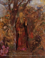 Buddah Walking Among the Flowers painting reproduction, Odilon Redon