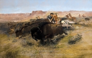 Buffalo Hunt painting reproduction, Charles Marion Russell