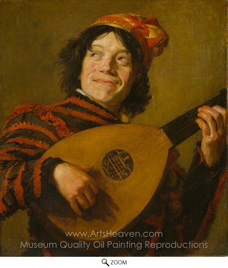 Frans Hals, Buffoon Playing a Lute oil painting reproduction