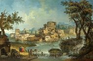 Buildings and Figures Near a River with Rapids painting reproduction, Michele Marieschi