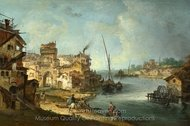 Buildings and Figures Near a River with Shipping painting reproduction, Michele Marieschi
