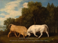 Bulls Fighting painting reproduction, George Stubbs