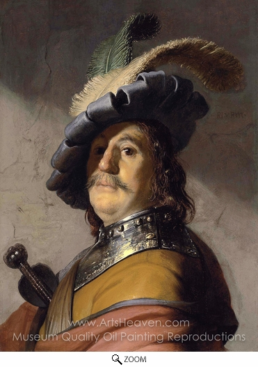 Rembrandt Van Rijn, Bust of a man in a Gorget and a Feathered Beret oil painting reproduction