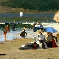By the Shore painting reproduction, Winslow Homer