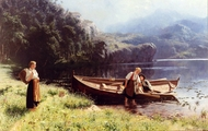 By the Water's Edge painting reproduction, Hans Dahl