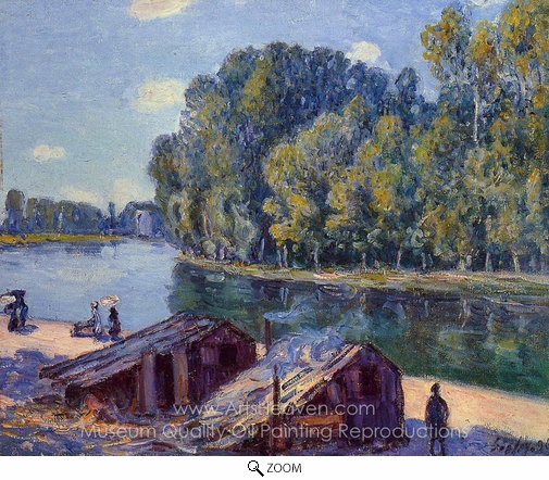 Alfred Sisley, Cabins along the Loing Canal, Sunlight Effect oil painting reproduction