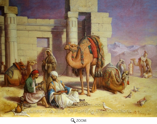 Louis Comfort Tiffany, Cairo Travelers Resting oil painting reproduction
