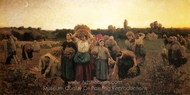 Calling the Gleaners Home painting reproduction, Jules Breton
