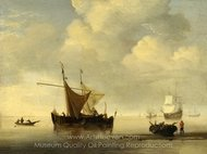 Calm, Two Dutch Vessels painting reproduction, Willem Van De Velde, The Elder