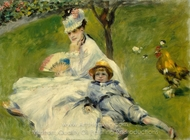 Camille Monet and Her Son Jean in the Garden at Argenteuil painting reproduction, Pierre-Auguste Renoir