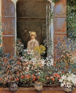 Camille Monet at the Window, Argenteuil painting reproduction, Claude Monet