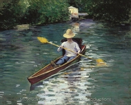 Canoe on the Yerres River painting reproduction, Gustave Caillebotte