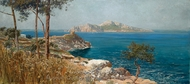 Capri from Sorrento painting reproduction, Carlo Brancaccio