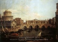 Capriccio: the Grand Canal, with an Imaginary Rialto Bridge and Other Buildings painting reproduction, Canaletto