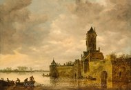 Castle by a River painting reproduction, Jan Van Goyen