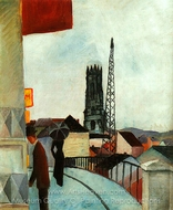 Cathedral at Freiburg, Switzerland painting reproduction, August Macke