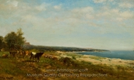 Cattle Along the Waterside painting reproduction, James McDougal Hart